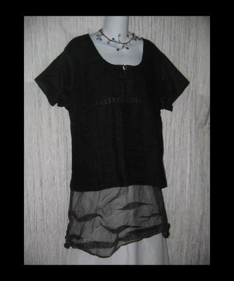 New J. Jill Black Linen & Lace Shapely Pullover Shirt Tunic Top X-Large XL