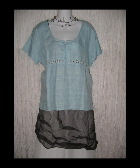 New J. Jill Blue Linen & Lace Shapely Pullover Shirt Tunic Top X-Large XL