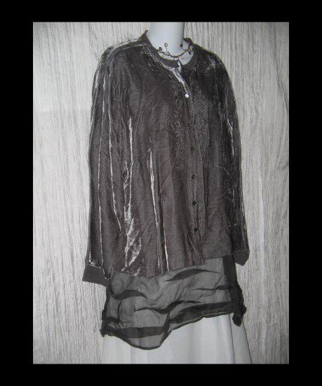 NWT J. Jill Gray Rayon Velvet & Lace Button Shirt Tunic Top 2X