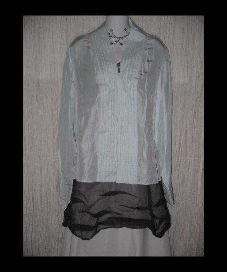 New J. Jill Robbin Egg Blue Silk Shirt Tunic Top X-Large XL