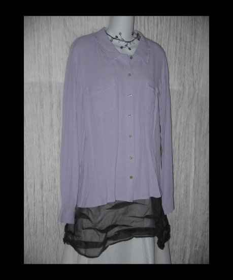 NWT J. Jill Lilac Whisper Crepe Button Shirt Tunic Top X-Large XL
