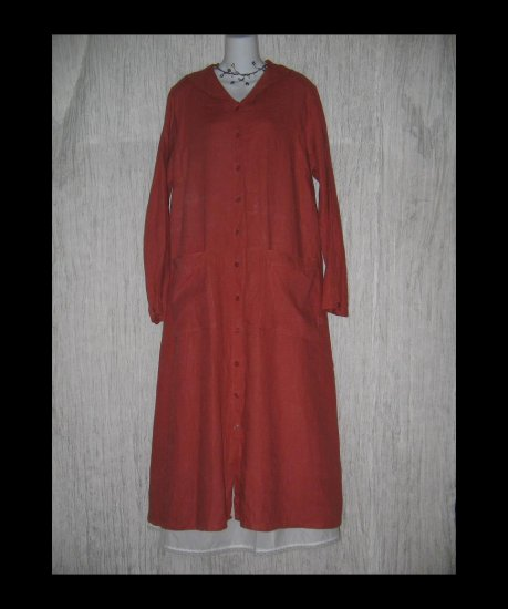 Flax Shapely LINEN Duster Dress Jacket Jeanne Engelhart Large L