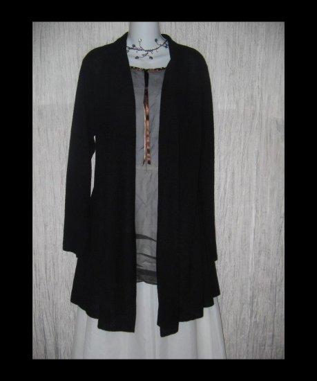New EILEEN FISHER Long Black Wool Shapely Open Cardigan Sweater XL