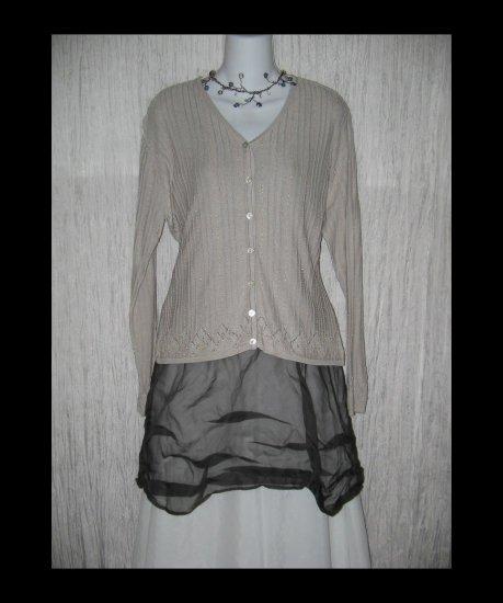 ZZ SILK Elegant Open Knit Beaded Cardigan Sweater Delicate Large L