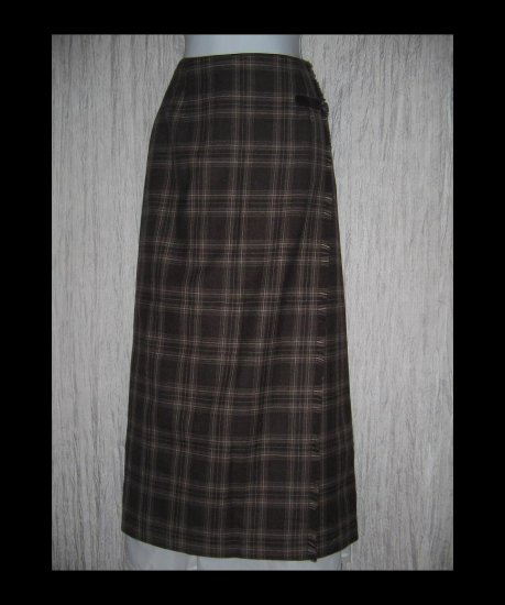 NWT Rafaella Classic Long Earthy Plaid Wool Faux Wrapped Buckle Skirt 10
