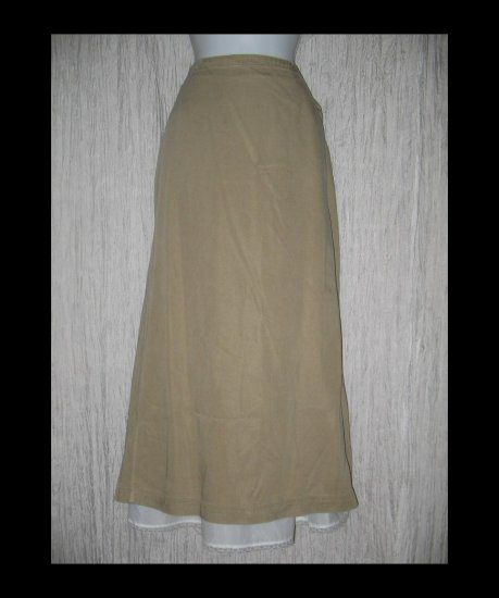 New J. Jill Long Shapely Earthy Beige Tencel Skirt Large L