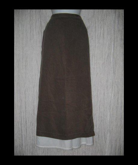 New J. Jill Long Shapely Earthy Brown Tencel Skirt Large L
