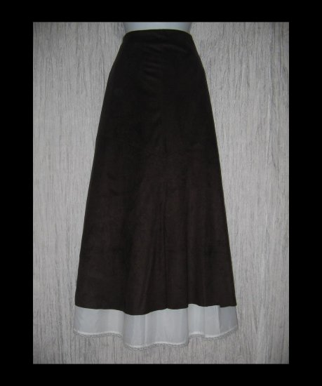 New J. Jill Long & Full Softest Brown Micro Suede Skirt 16