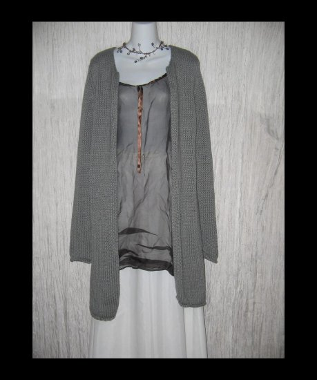GAP Long Cozy Gray Cotton Open Cardigan Sweater Medium M