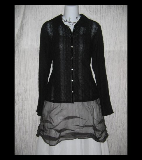 New J. Jill Black Velvet Lace Knit Button Tunic Top Shirt Medium M