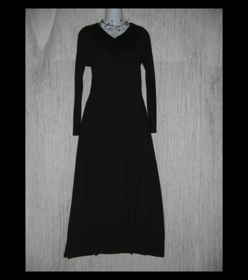 CLOTHESPIN Boutique Long Black Knit Gathered Hem Dress Small S
