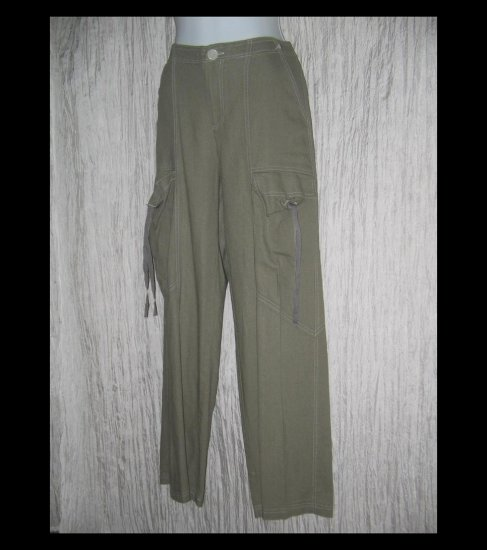 New NEESH by D.A.R. Soft Green Linen Cargo Pants Small S