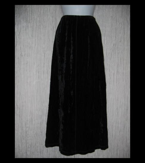 J. Jill Long Fluttery Black Rayon Velvet Skirt X-Small XS