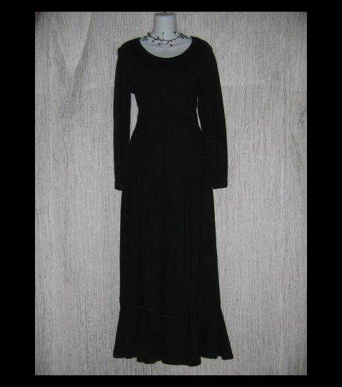 CLOTHESPIN Boutique Long Black Knit Gathered Hem Dress Medium M
