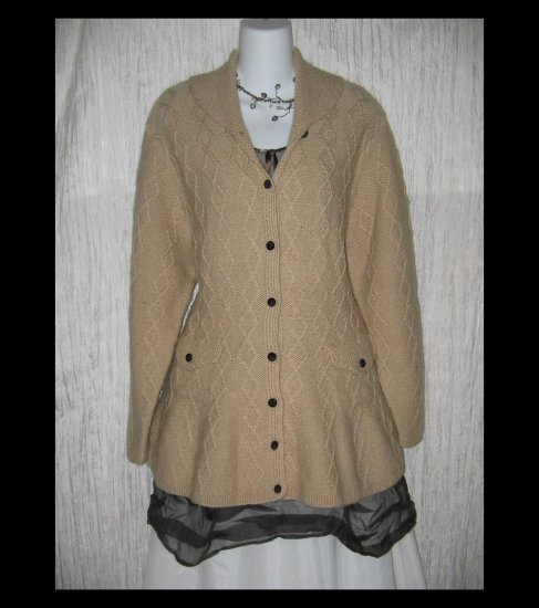MARISA CHRISTINA Soft Brown Wool Shapely Irish Fisherman's Cardigan Sweater Large L