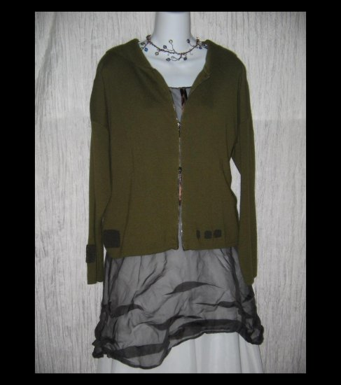 ANIMALE Boutique Soft Green Hooded Zipped Cardigan Sweater Small S