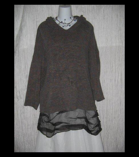 FLAX by Jeanne Engelhart Soft Cozy Hooded Pocket Sweater M L