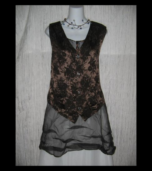 CP SHADES Loose Chocolate Brown Floral Rayon Vest Medium M