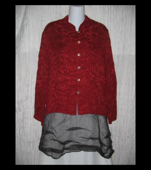Bryn WALKER Loose Red Rayon Boxy Tunic Top Shirt Large L