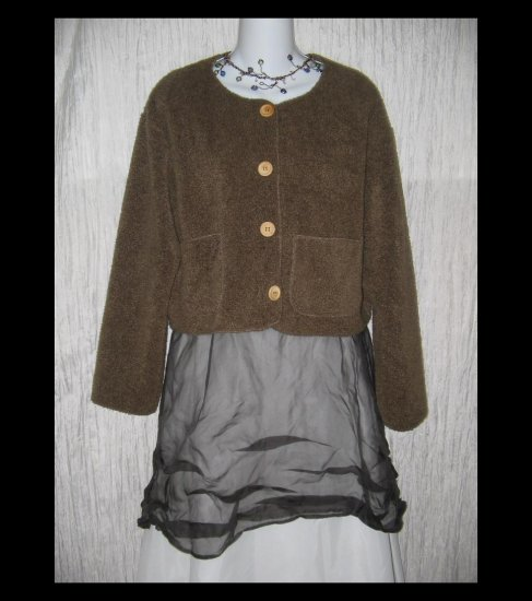 Free People Soft Cozy Brown Cropped Jacket Shirt Top Medium M