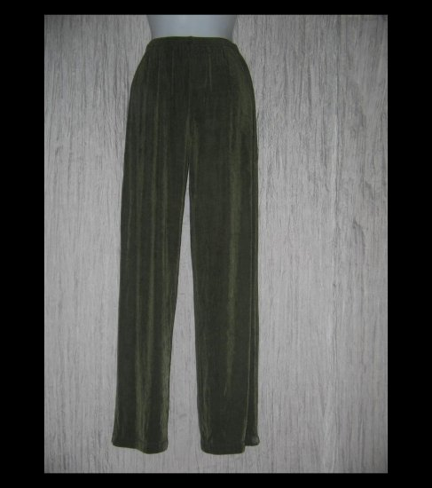 Citiknit Long Loose Slinky Olive Green Knit Pants X-Small XS