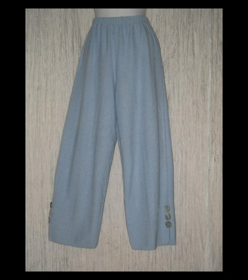 WILLOW Boutique Soft Blue Textured Knit Button Cuff Pants Medium M