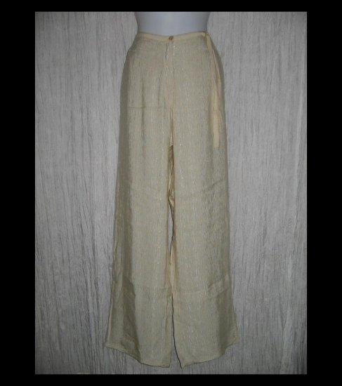 New KLEEN Boutique Textured Ecru Silk & Linen Ribbon Trousers Pants Large L