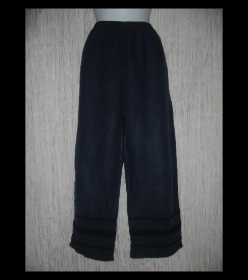 J. Jill Deep Blue Ribbon Trimmed LINEN Beach Pants Large L