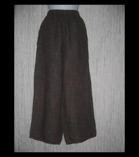 FLAX by Jeanne Engelhart Dark Plaid LINEN Floods Pants Medium M