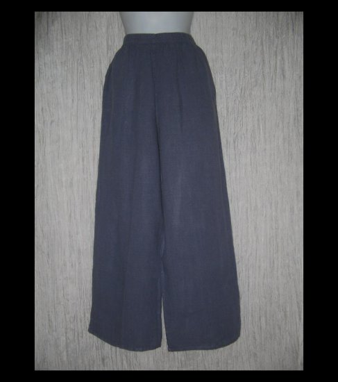 ALYWEAR Boutique Long Blue Wide Leg LINEN Pants X-Large XL