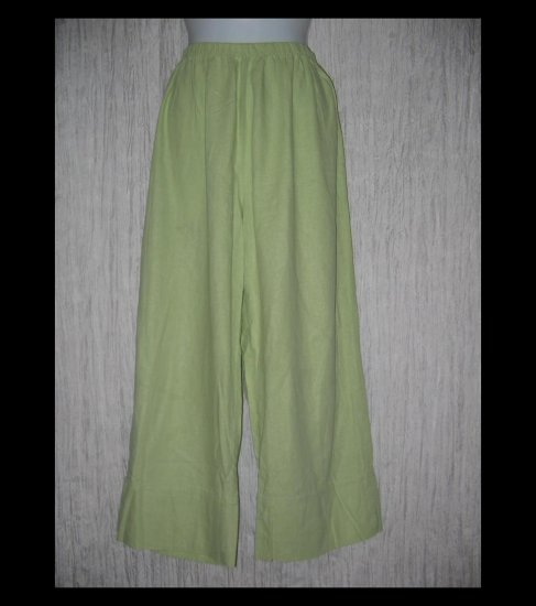 Basic Threads Santa Monica Green LINEN Wide Leg Pants X-Large XL