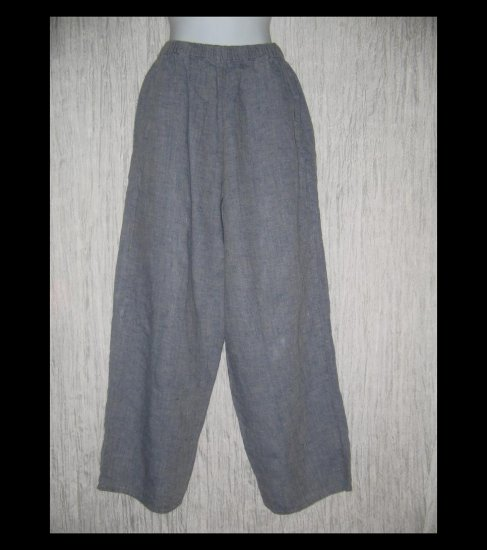 FLAX by Jeanne Engelhart Long Blue Wide Leg LINEN Pants Medium M