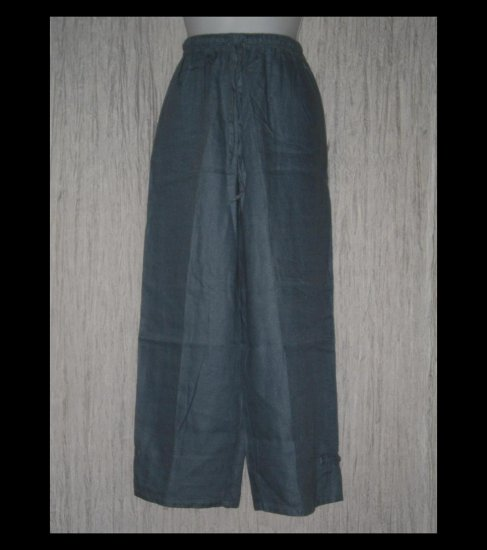 J. Jill Dusty Blue Wide Leg Asian Knot Linen Drawstring Pants Medium Petite MP