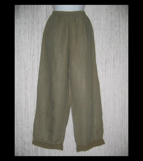 J. Jill Crochet Trimmed Gray LINEN Pants Medium M