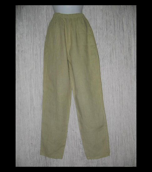 WILLOW Boutique Long Earthy Green LINEN Pants Medium M