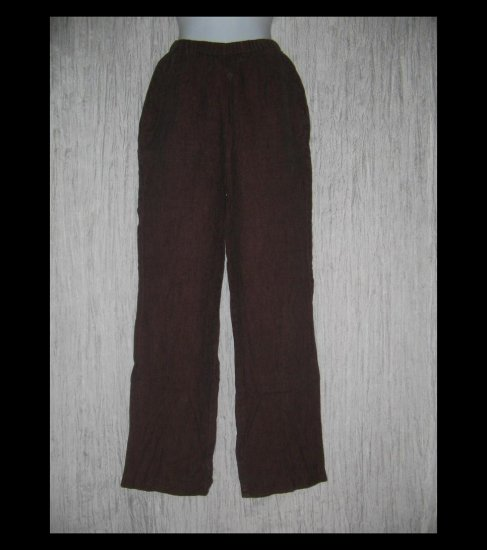 FLAX Long Rich Brown LINEN Pants Jeanne Engelhart Small S