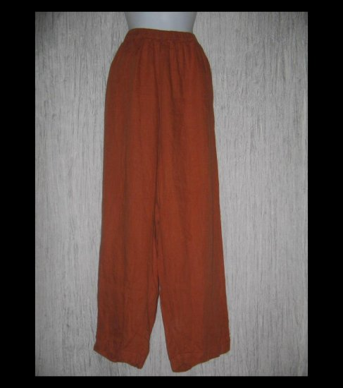 FLAX Long Burnt Orange LINEN Pants Jeanne Engelhart 2G