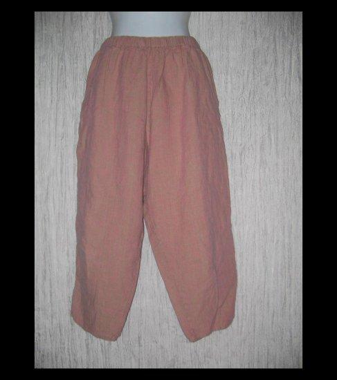 FLAX by Jeanne Engelhart Bazooka Pink LINEN Capri Pants Medium M