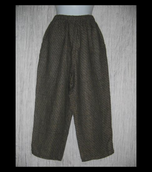 FLAX by Jeanne Engelhart Brown Basket Weave LINEN Capri Pants Small S