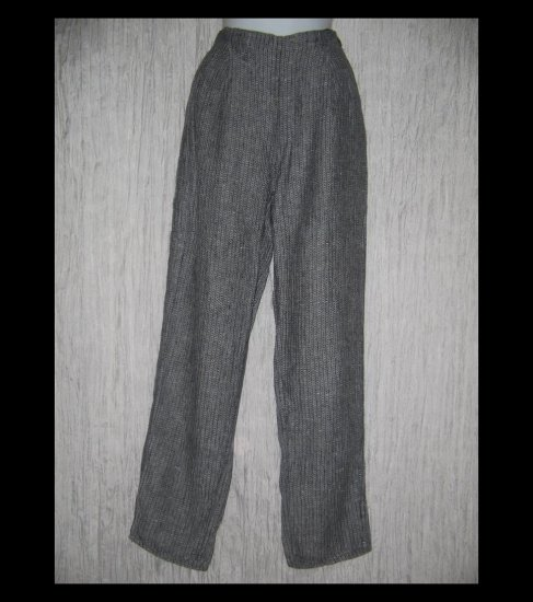 FLAX by Jeanne Engelhart Textured Gray LINEN Pants Small S