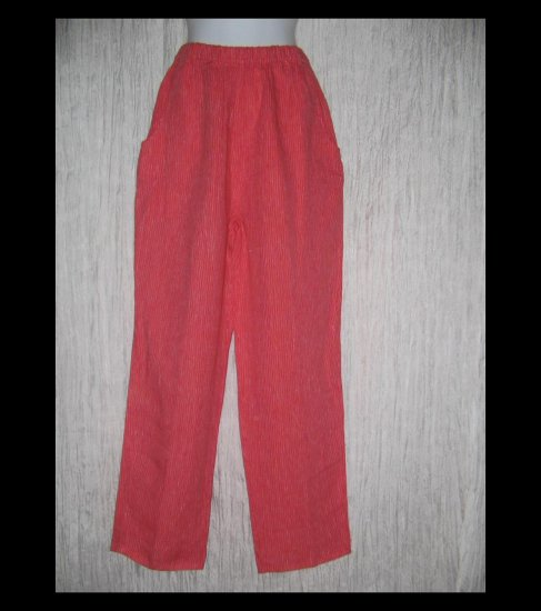 FLAX Long Red Striped LINEN Pants Jeanne Engelhart Small S