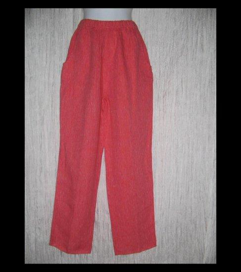 FLAX Long Red Striped LINEN Pants Jeanne Engelhart Small S