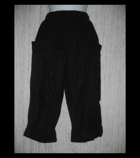 ARGEE Black Linen & Rayon Wide Cuffed Drawstring Capris Pants Medium M