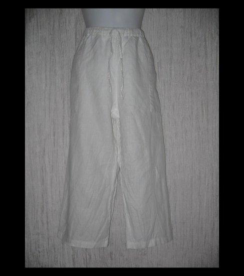 Chico's Design White Linen Drawstring Capris Pants 2 M L