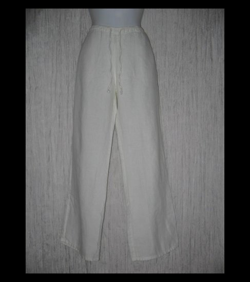 GAP Long Loose White Linen Drawstring Pants Large L