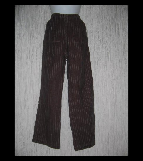Solitaire Long Loose Striped Linen Drawstring Pants Small S