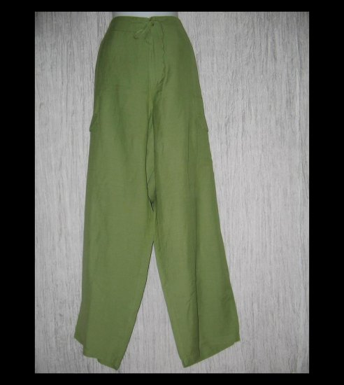 CAREN Sport CS Long Loose Leafy Green Ramie Drawstring Pants 3X