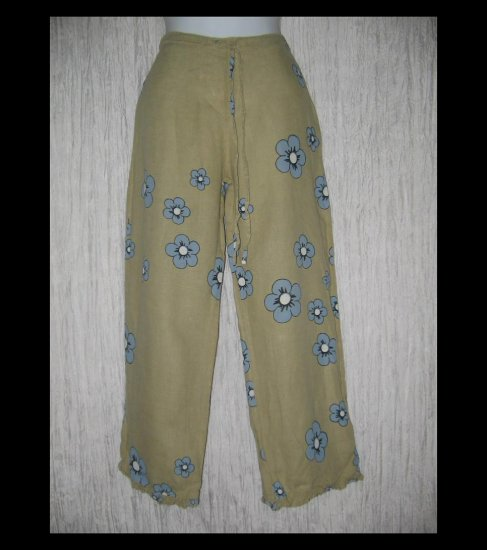 Solitaire Boutique Ruffled Linen Drawstring Capris Pants Small S