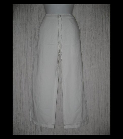 SOLITAIRE Boutique Long White Cotton Drawstring Pants Medium M