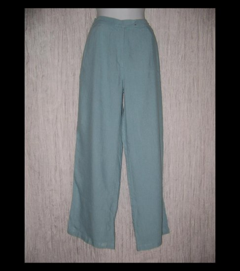 J. Jill Soft Robbin Egg Blue Wide Leg Linen Trousers Pants 12
